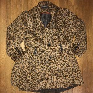 Cheetah Print Short Trench Coat (Furry)